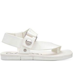 Calvin Klein Leather Peep Toe Ankle Strap Sandals